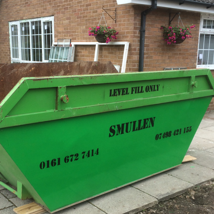 Smullen's range of skips; mini, midi, maxi and roll on roll off.